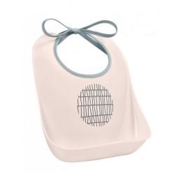 Beaba silikonski podbradnik Pink Grid