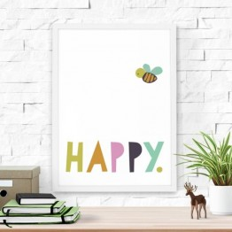 Poster Bee Happy 30x40