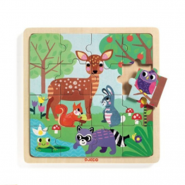 Djeco Drvene puzzle šumske životinje