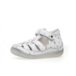 Falcotto sandale bijele sa srebrnim cvjetićima