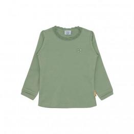 Claire Kids majica zelena s čipkom