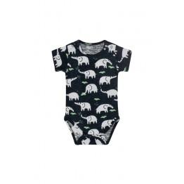 Hust baby plavi bodi s uzorkom slonića