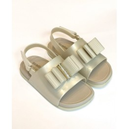 Mini Melissa Beach Slide Sanda - White Pearled