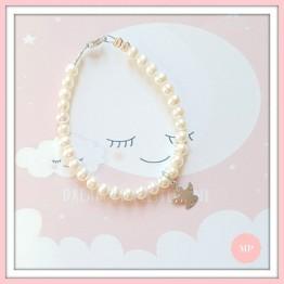 Mon Petit biserna narukvica sa anđelom - bijelo zlato