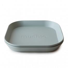 Mushie set 2 tanjura (četvrtasti) – Sage