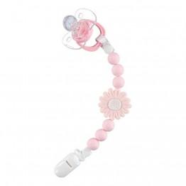 Nibbling Petal silikonski lanac za dudu - Pink
