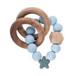 Nibbling Stellar Wood igračka za zubiće - Plava