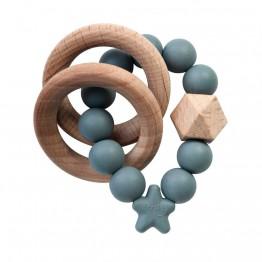 Nibbling Stellar Wood igračka za zubiće - Siva