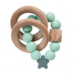 Nibbling Stellar Wood igračka za zubiće - Mint