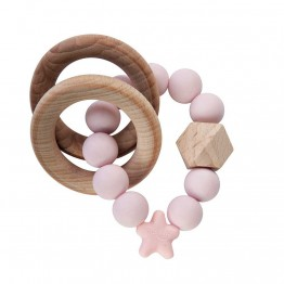 Nibbling Stellar Wood igračka za zubiće - Baby Pink