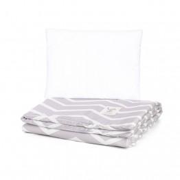 Petit Marie Set navlaka za poplun + jastučnica Grey Zigzag Stripes