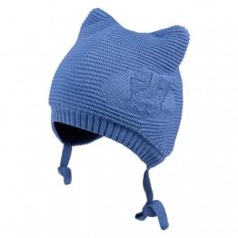 Pletena kapa sa ušima svijetloplava