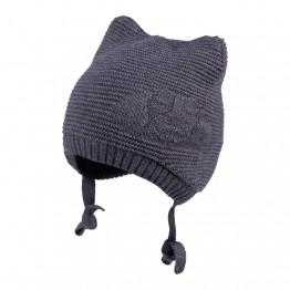 Pletena kapa sa ušima siva
