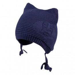 Pletena kapa sa ušima tamnoplava
