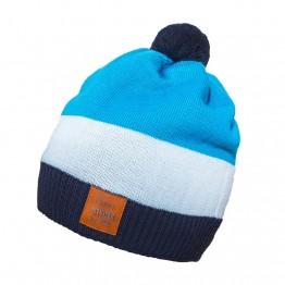 Kapa sa pomponom plavo tirkizna